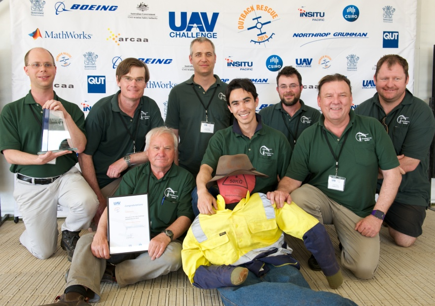 The winning CanberraUAV team with Outback Joe