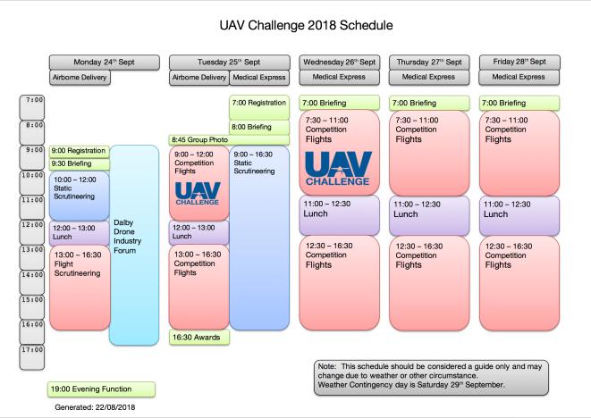 UAVC 2018 Schedule 20180822